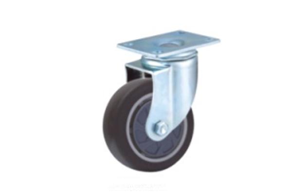 中型单轴承高弹力胶脚轮